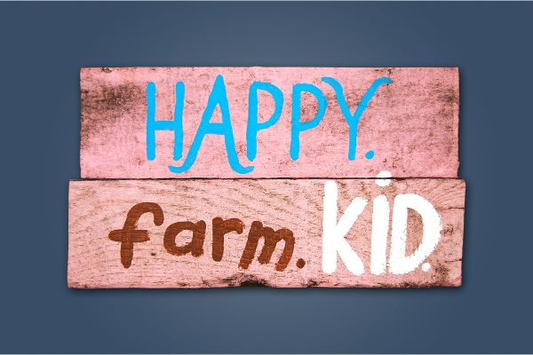 Happy. Farm. Kid.